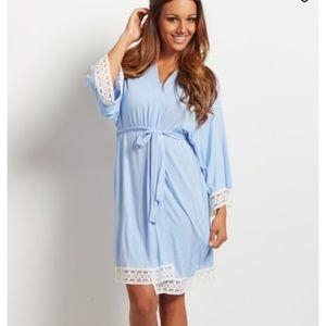 NewPinkblush lace trim maternity robe